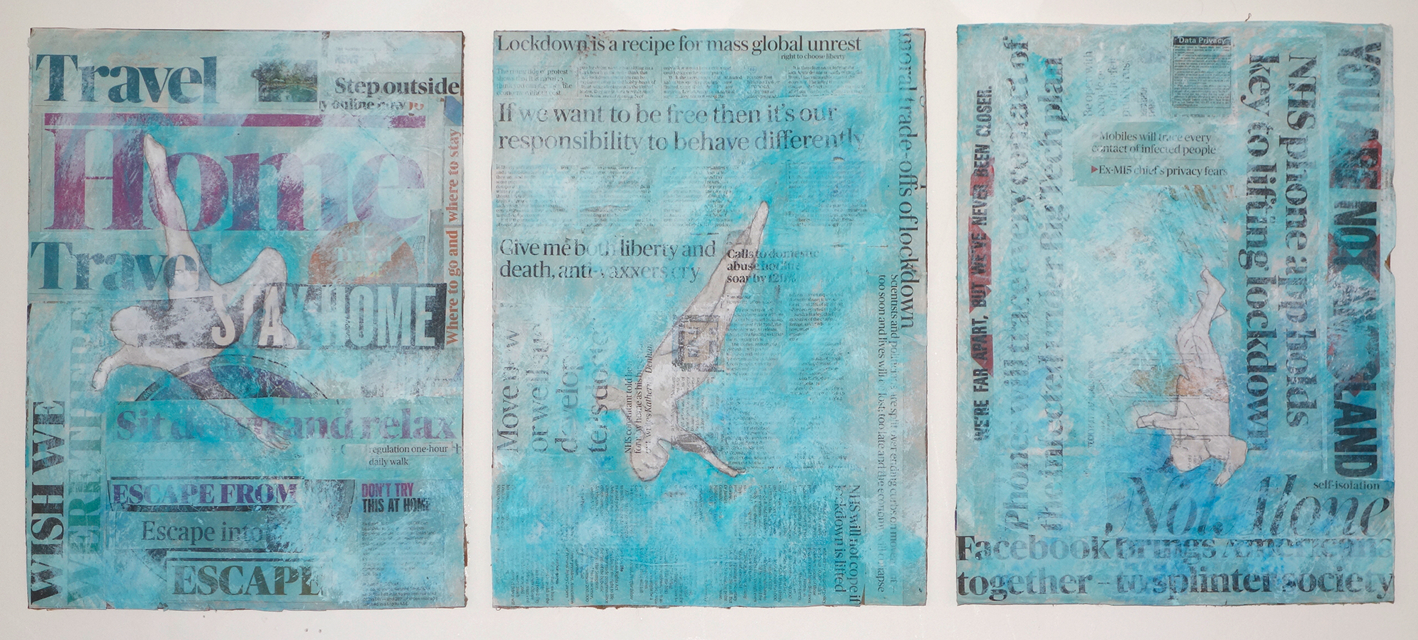 'Freedom',-mixed-media-on-newsprint-and-card,-94cm-x-40cm-(triptych-variable),-Naomi-Hart,-2020